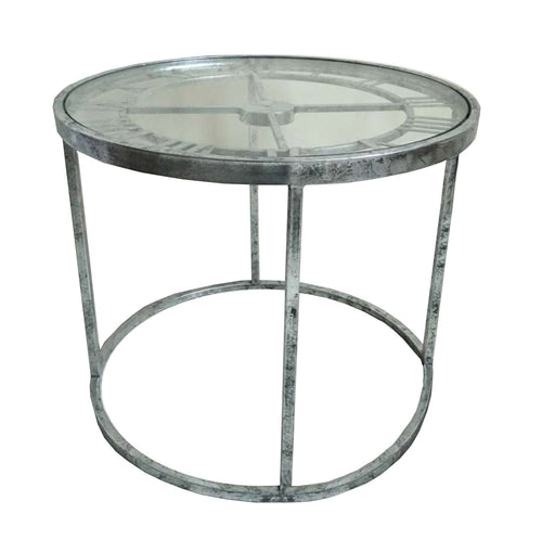 Antique Silver Round Clock Side Table