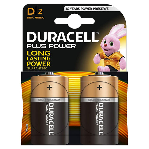 DURACELL Plus Power D Cell Batteries (2 Pack)
