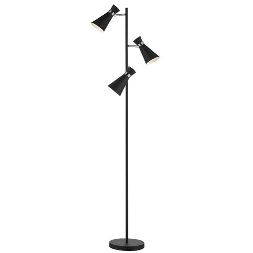 Ashworth 3 Light Floor Lamp Black Polished Chrome