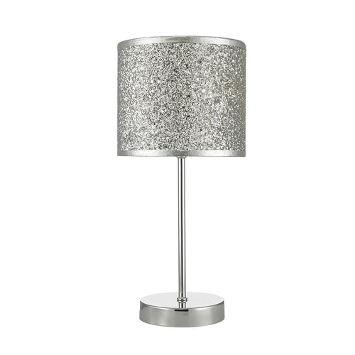 Bistro Table Lamp Touch Polished Chrome complete with Silver Glitter Shade