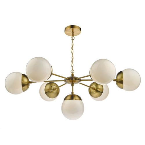 Bombazine 7 Light Pendant Antique Brass complete with Glass Shds