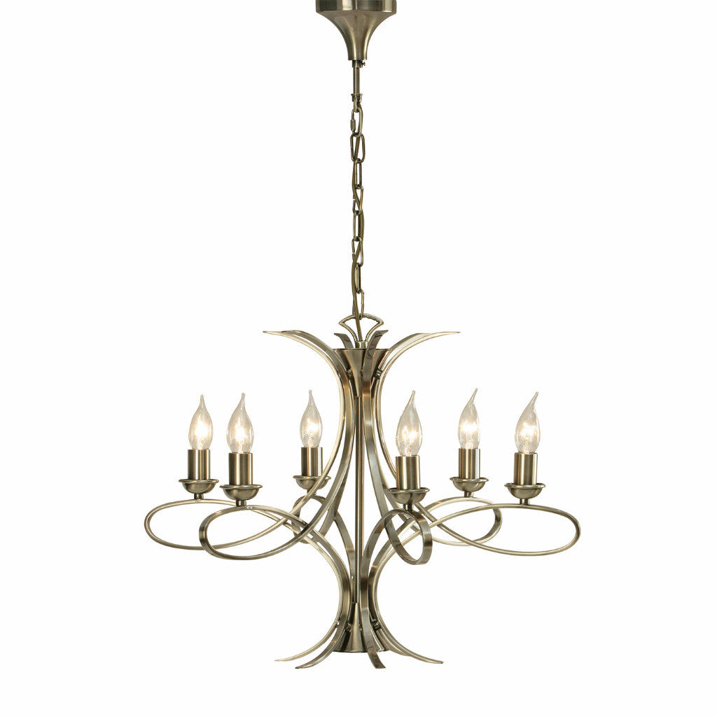 Penn Brushed Brass 6 Lt Medium Chandelier