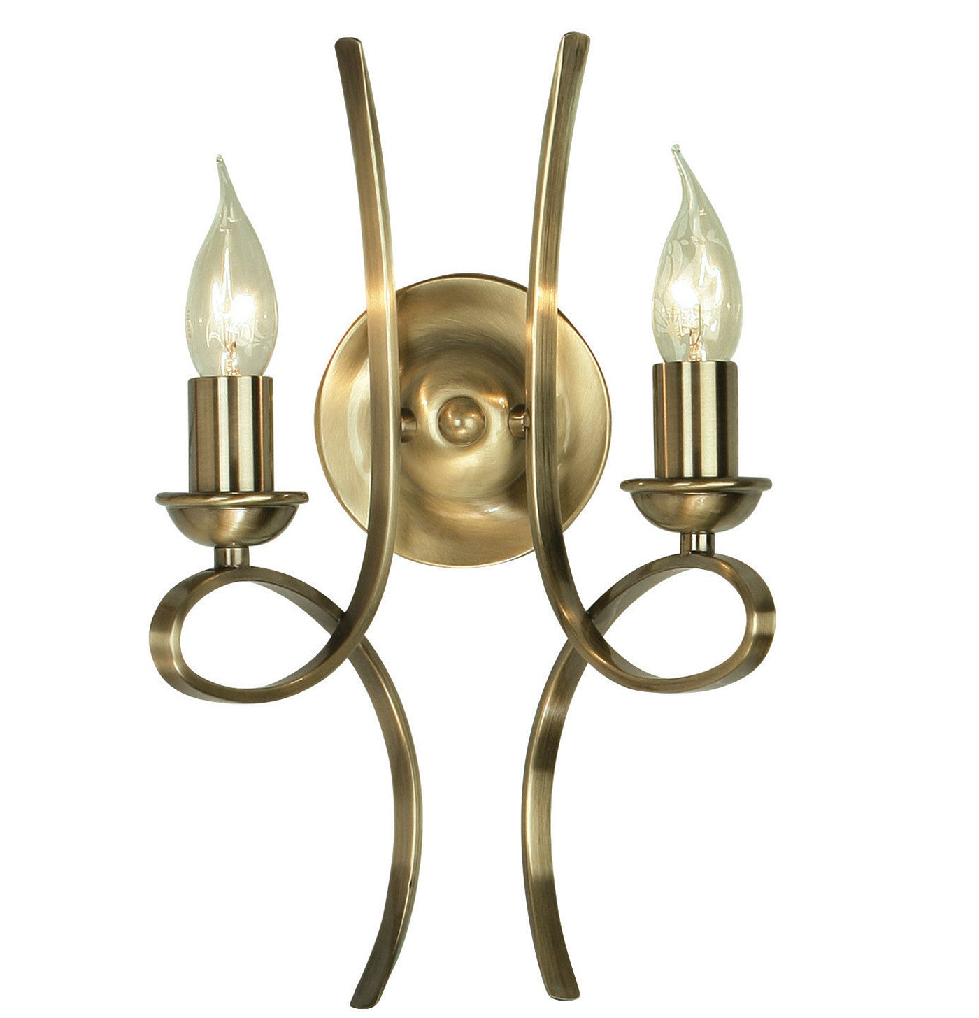 Penn Brushed Brass Twin Wall Light
