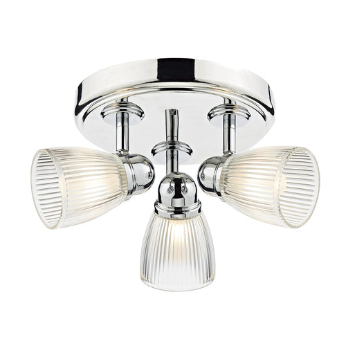 Cedric 3 Light Round Plate Spot Polished Chrome IP44