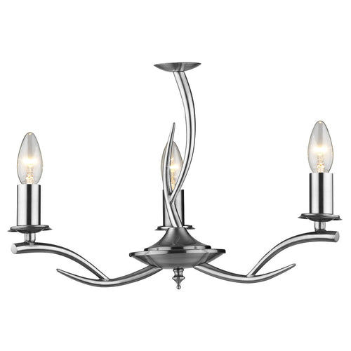 Elka 3 Light Pendant Satin Chrome