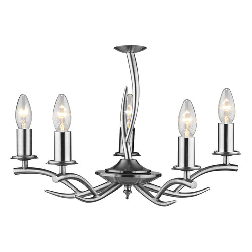 Elka 5 Light Pendant Satin Chrome