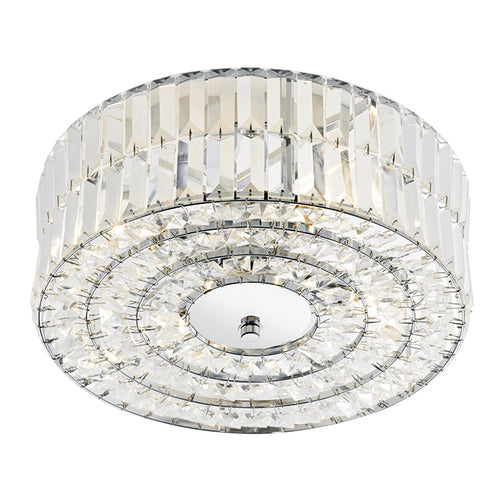 Errol Crystal Semi Flush Fitting Polished Chrome