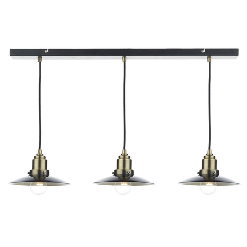 Hannover 3 Light Bar Pendant Black/ Antique Brass
