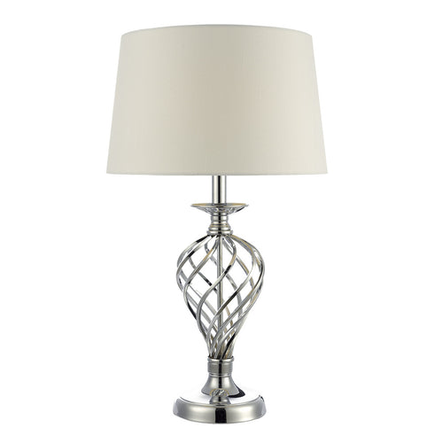 Iffley Large Table Lamp Polished Chrome complete with Ivory Shade Touch