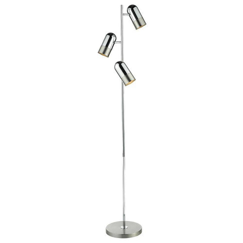 Kazan 3 Light Floor Lamp Satin Chrome Polished Chrome