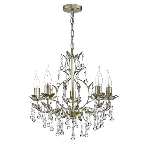 Laquila 5 Light Leaf Pendant Pale Distressed Gold Silver