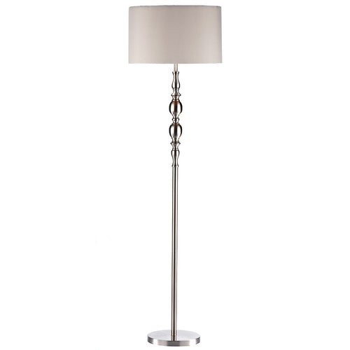 Madrid Ball Floor Lamp Satin Chrome complete with Shade