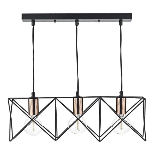 Midi 3 Light Bar Pendant Black / Copper