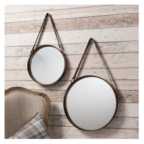 Marston Leather Strap Mirrors Set Of 2