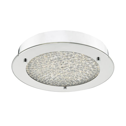 Peta Flush Polished Chrome Clear Glass Led