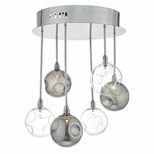 Quinn 6 Light Semi Flush Smoked/ Clear