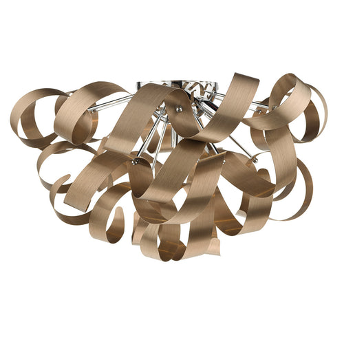 Rawley 5 Light Flush Brushed Copper