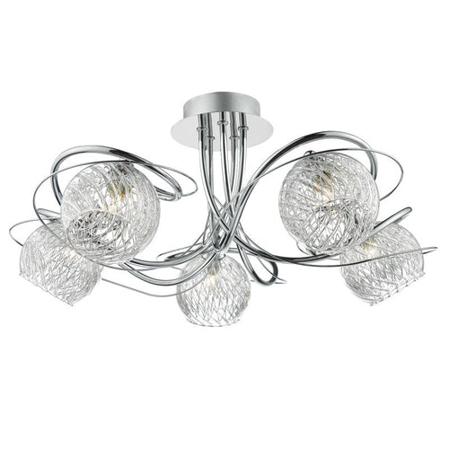 Rehan 5 Light Semi Flush Polished Chrome