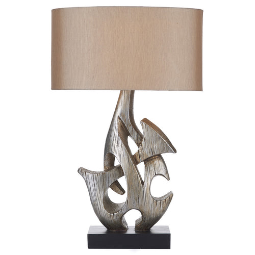 Sabre Table Lamp Silver Wooden complete with Shade SAB4332RS/X