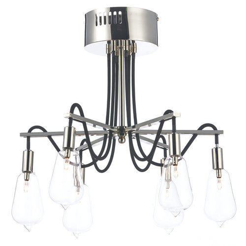 Scroll 6 Light Semi Flush Polished Nickel