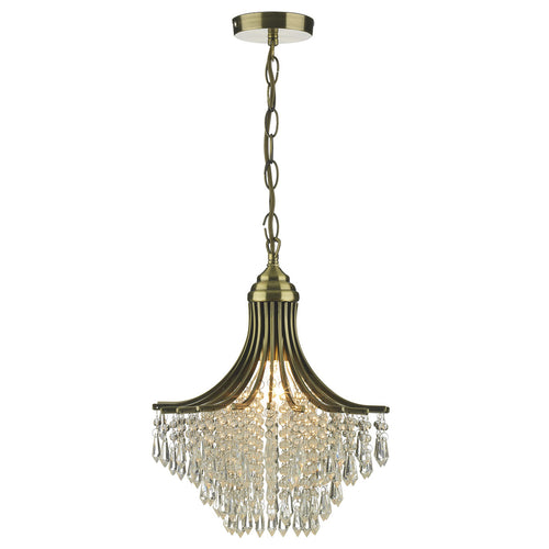 Suri 1 Light Pendant Antique Brass complete with Clear Beads