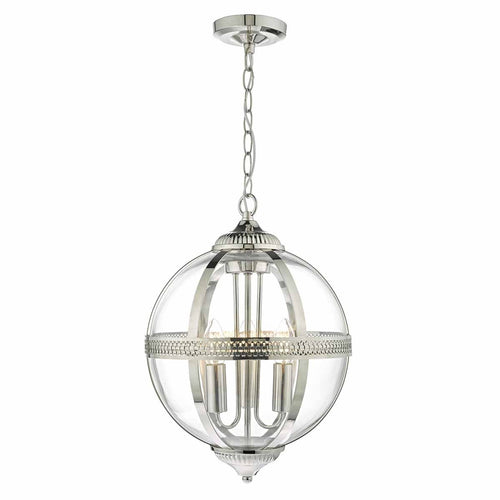 Vanessa 3 Light Pendant Polished Nickel/ Clear