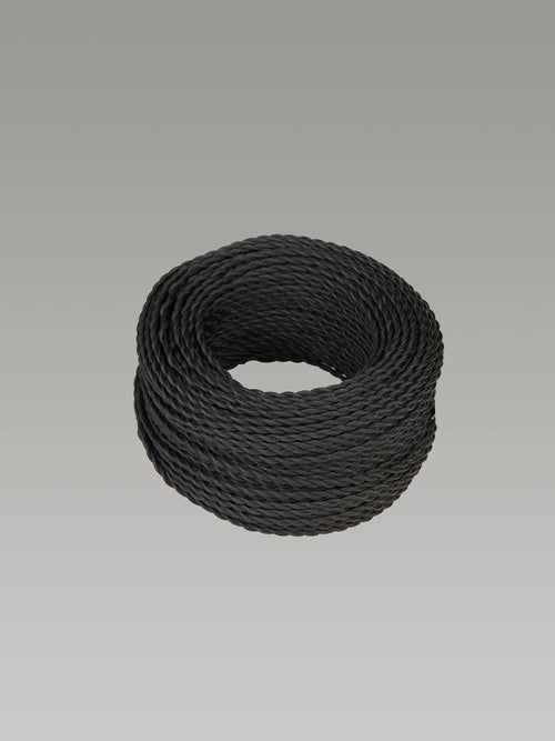 Cavo 1M Black Braided Twisted 2 Core 0.75mm Cable