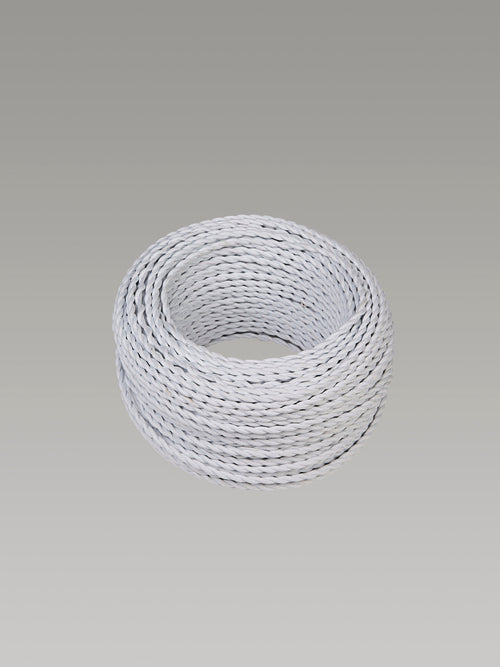 Cavo 1M White Braided Twisted 2 Core 0.75mm Cable