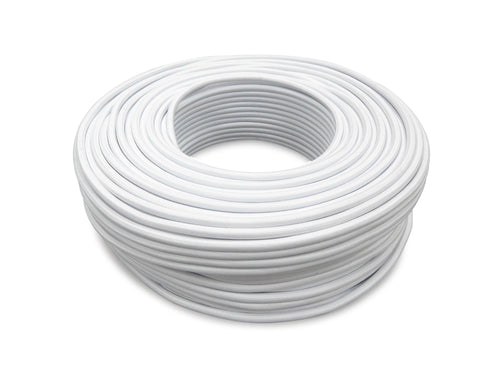 Cavo 1M White Braided 3 Core 0.75mm Cable
