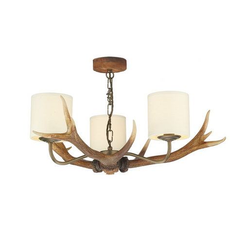 David Hunt Antler 3 Chandelier with Shades