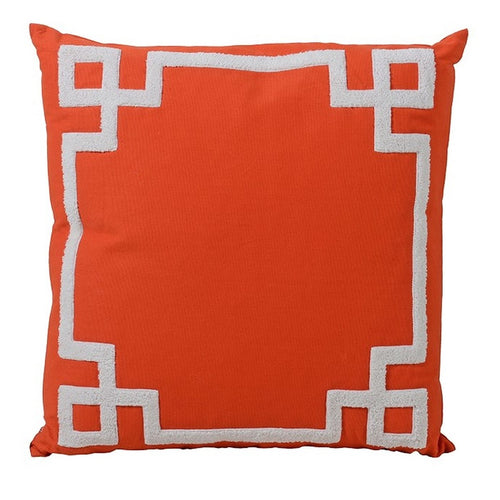 Greek Key Trim Orange Cushion
