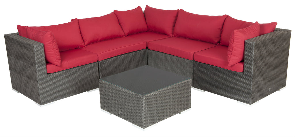 Sino Premium Wicker 6 Piece Outdoor Sofa Set Luxurious Wicker Set