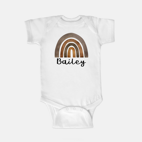 Personalized Earthy Rainbow Onesie White