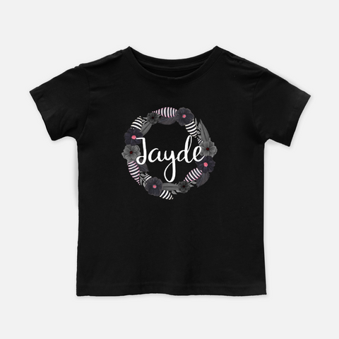 Modern Wreath Monochrome Personalized Toddler Tee