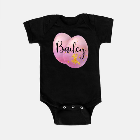 Pink Easter Egg Personalized Onesie