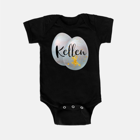 Steel Blue Easter Egg Personalized Onesie