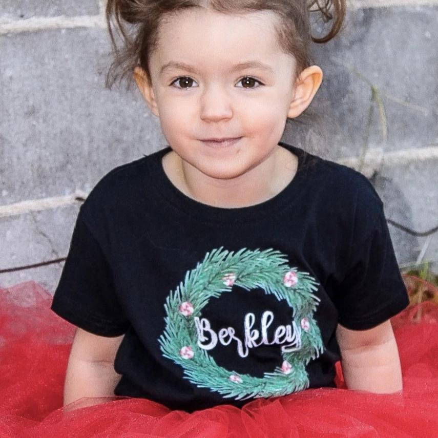 Peppermint Wreath Personalized Toddler Tee