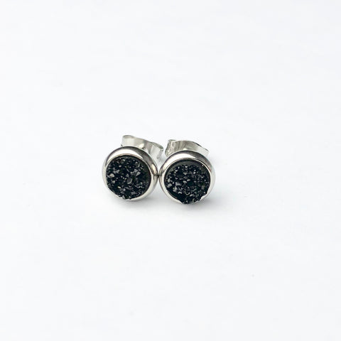 Black Druzy 6mm Stud Earrings