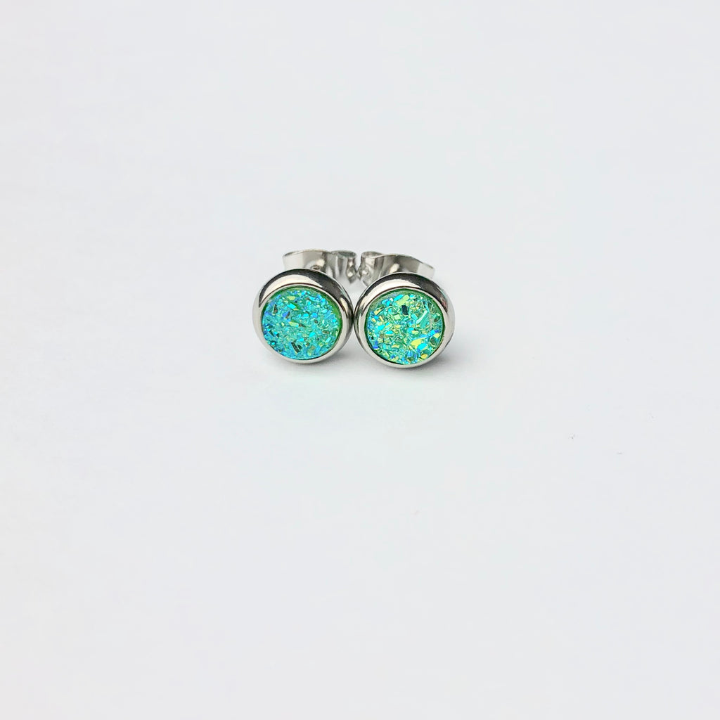 Light Green & Blue Druzy 6mm Stud Earrings