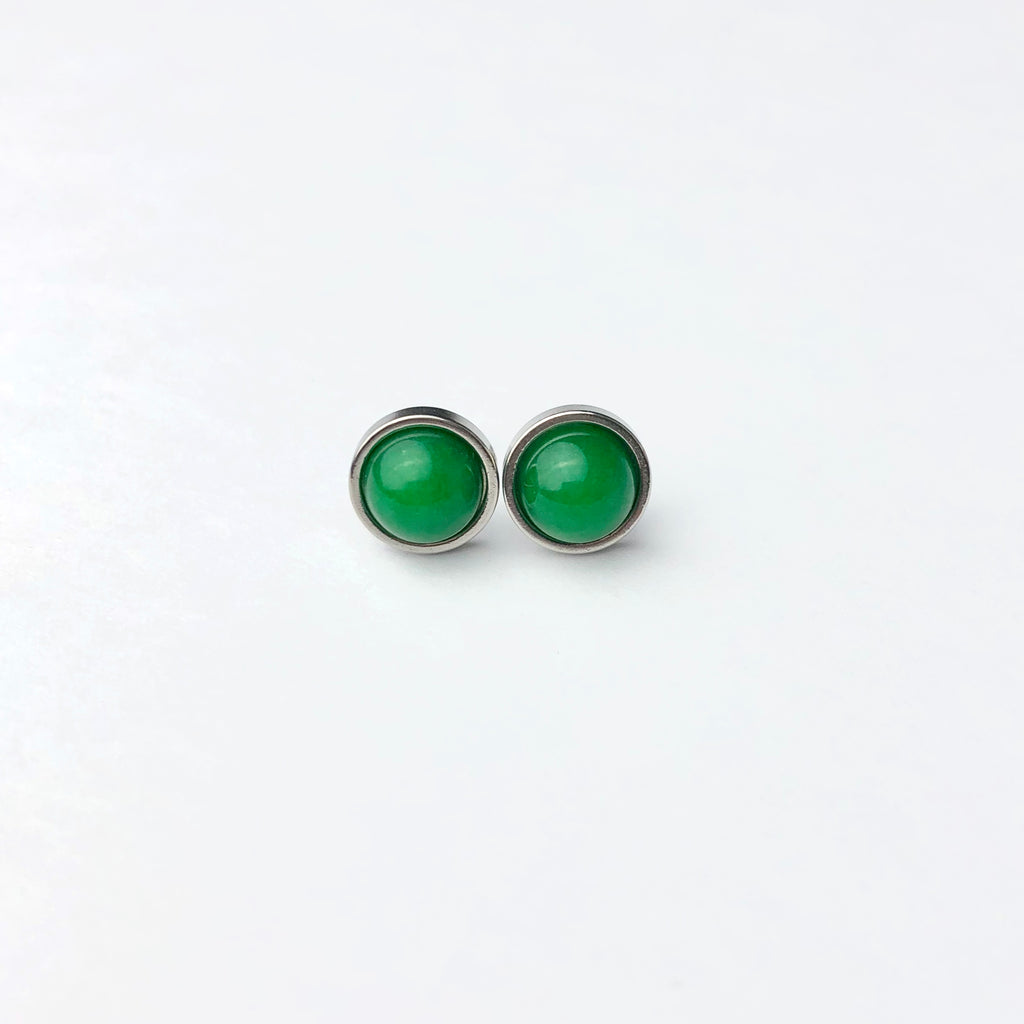 Green Jade Luxury Gemstone 8mm Stud Earrings