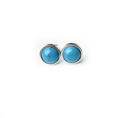 Turquoise Luxury Gemstone 8mm Stud Earrings
