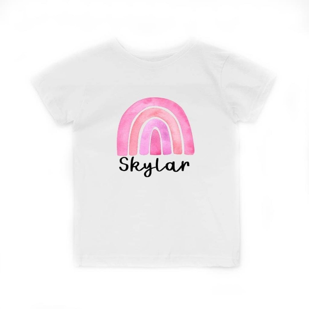 Personalized Pink Rainbow Toddler Tee White