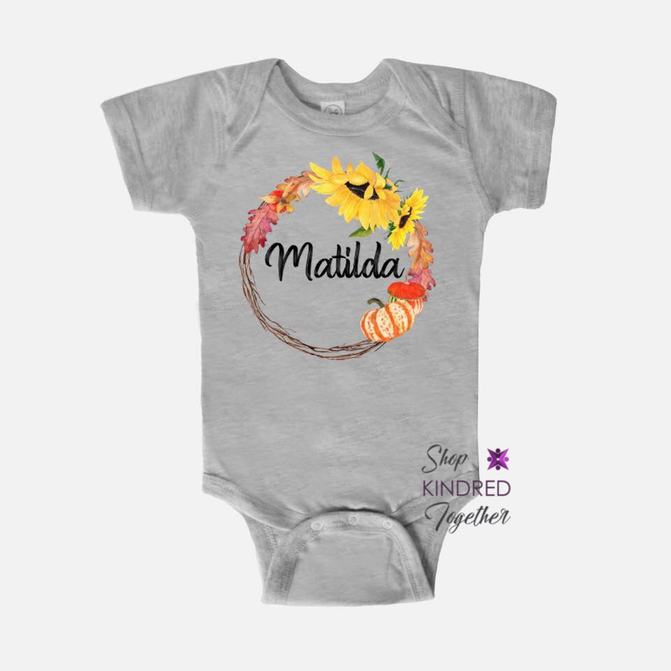 Fall Wreath Baby Onesie