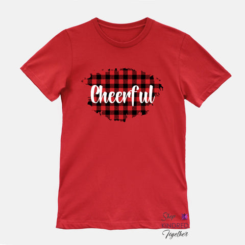 Buffalo Plaid on Red Personalized Adult Tee
