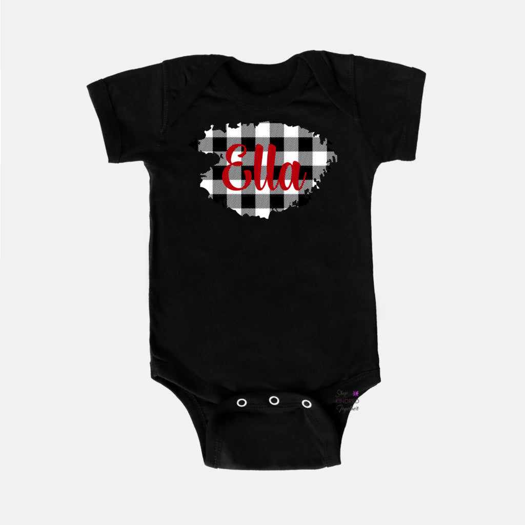 Gingham Personalized Baby Onesie