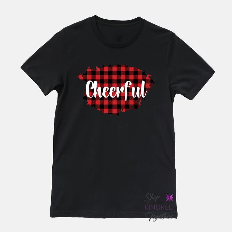Buffalo Plaid on Black Personalized Adult Tee