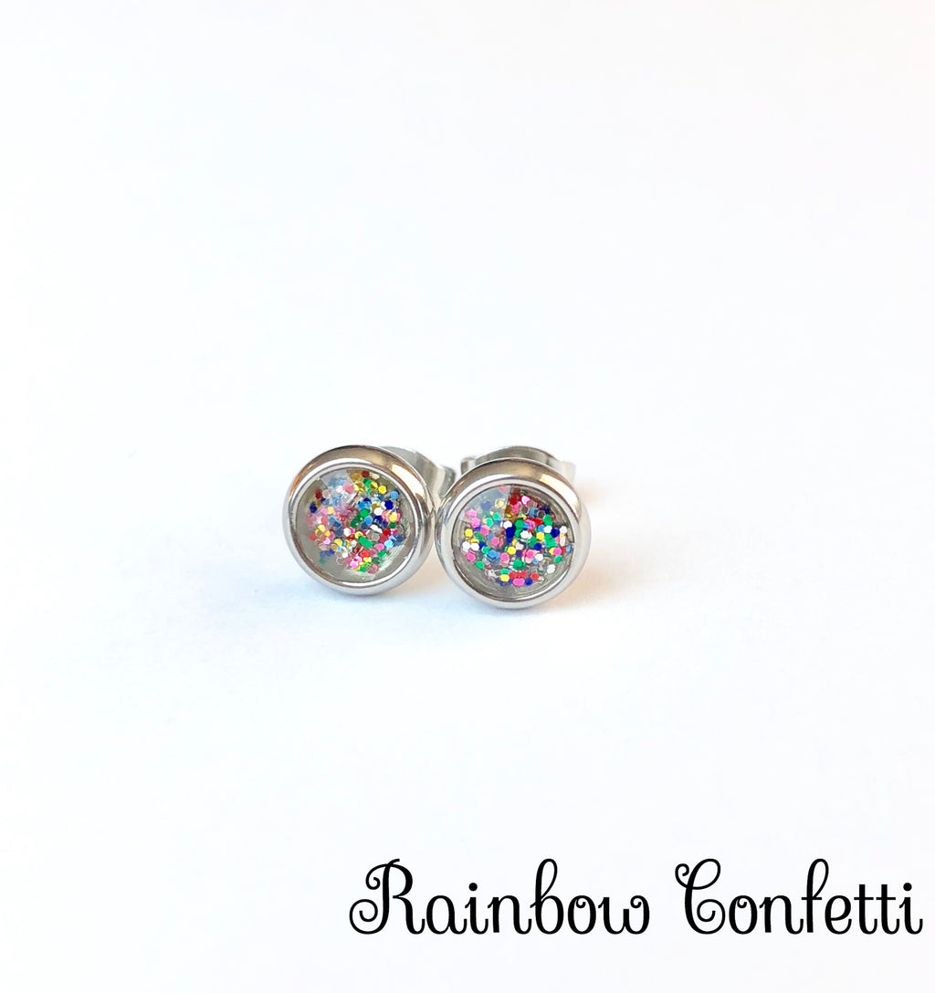 Glitter Stud Earrings 6mm