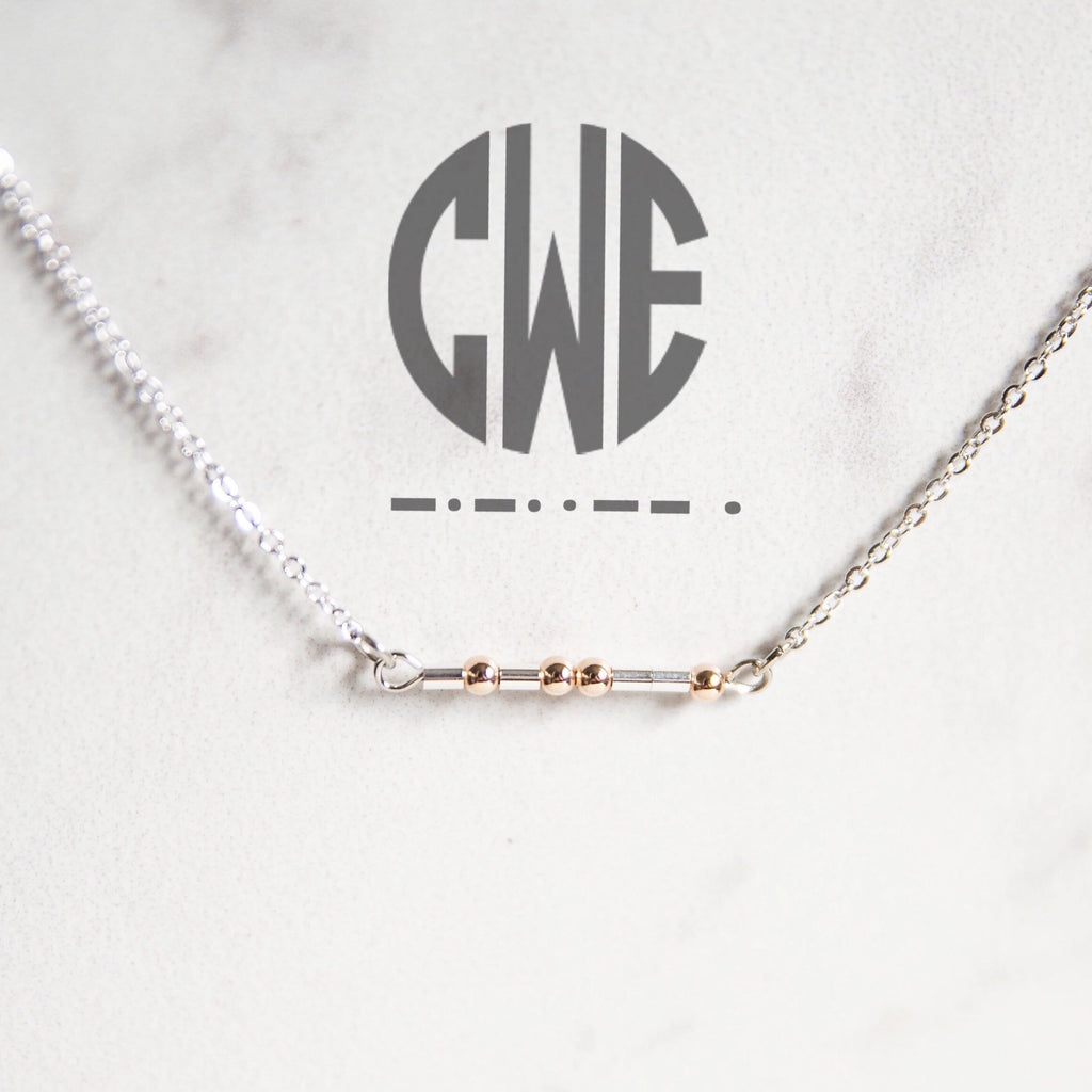 Morse Code Monogram Bar Necklace