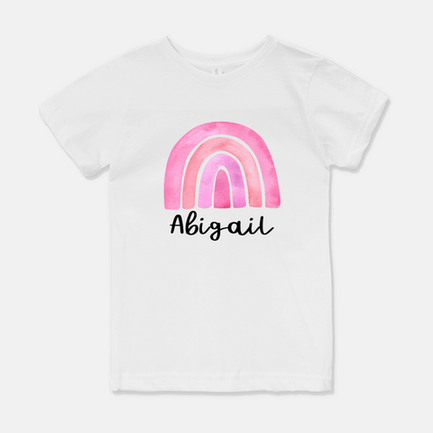 Personalized Pink Rainbow Youth Tee White