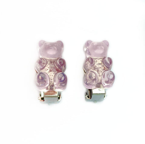 Lilac Gummy Bear Clip On Earrings